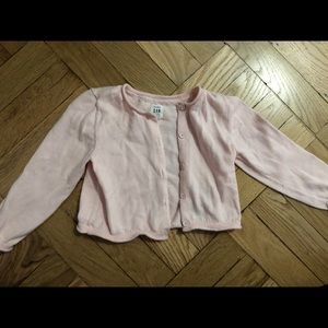 Light pink knit gap cropped cardigan, 18-24 months